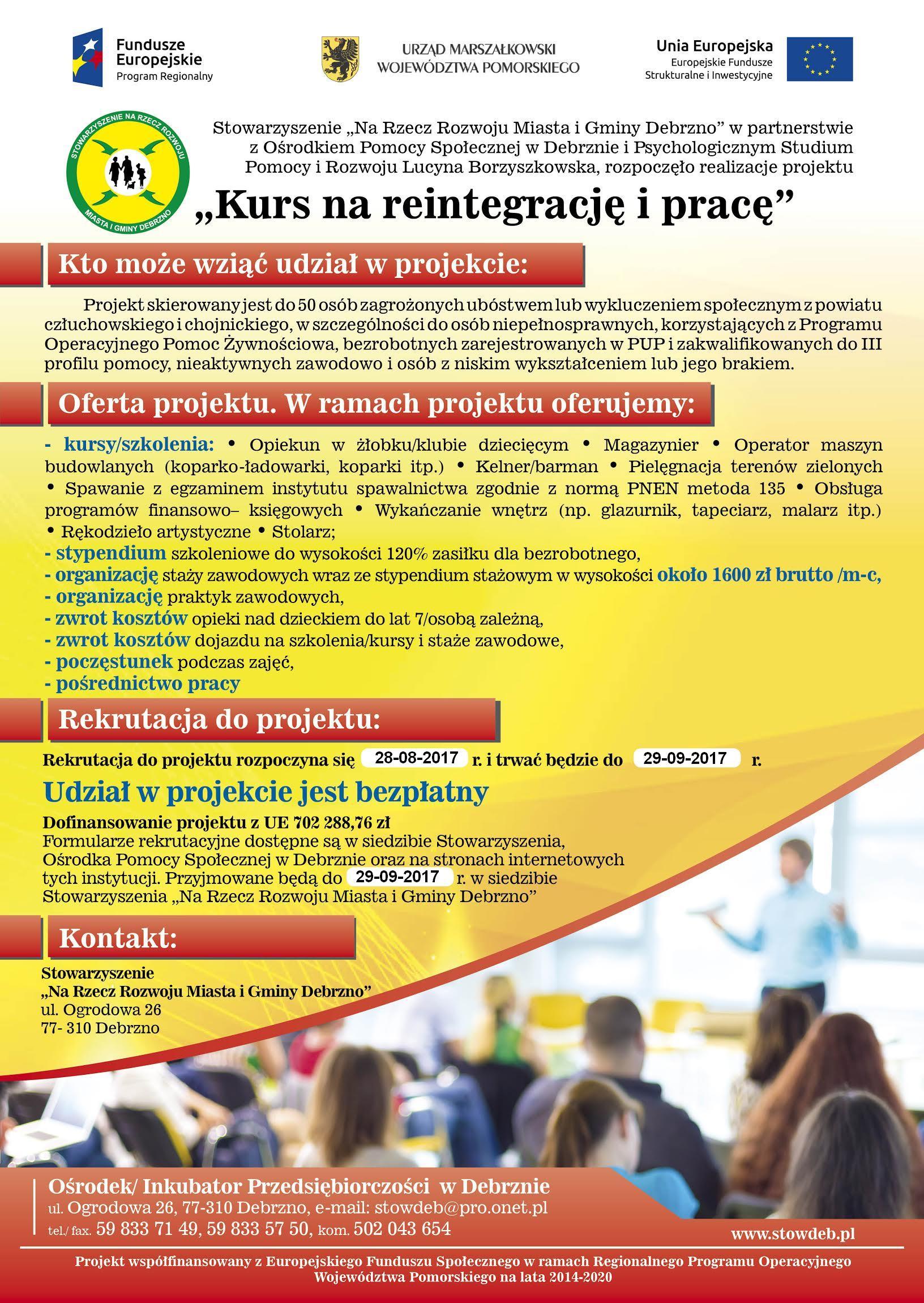 """""""Kurs na reintegrację i pracę"""" - informacja na stronę www - plakat A-3"""